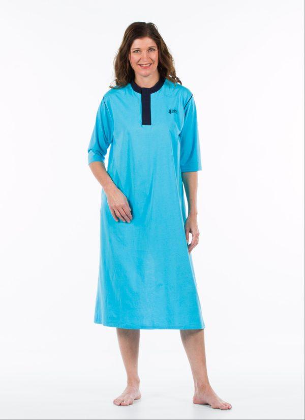 Nachthemd dames en heren nachtjapon met knoopjes ZorgMode 1413 201