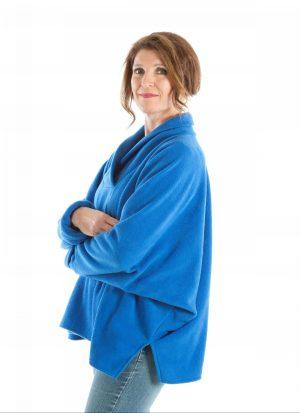 Fleece poncho met shawl kraag   met mouwen