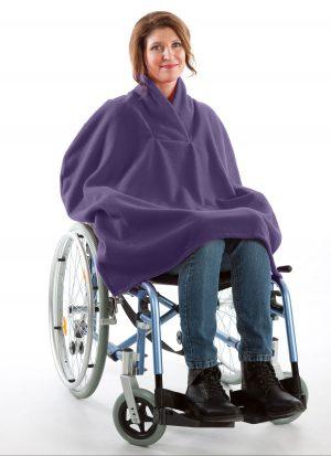 Fleece poncho met shawl kraag   zonder mouwen